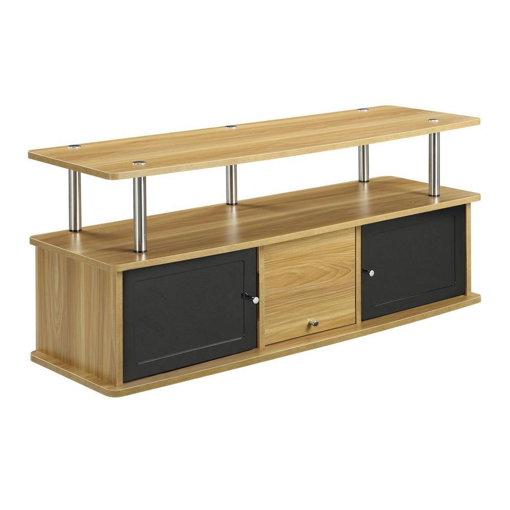 Convenience Concepts Designs2Go Light Oak and Black Storage Entertainment Center