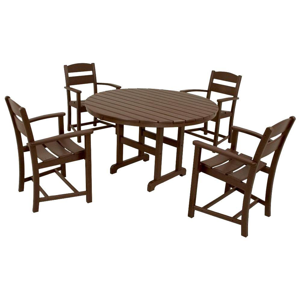 Ivy Terrace Clics Mahogany 5 Piece Plastic Outdoor Patio Dining Set