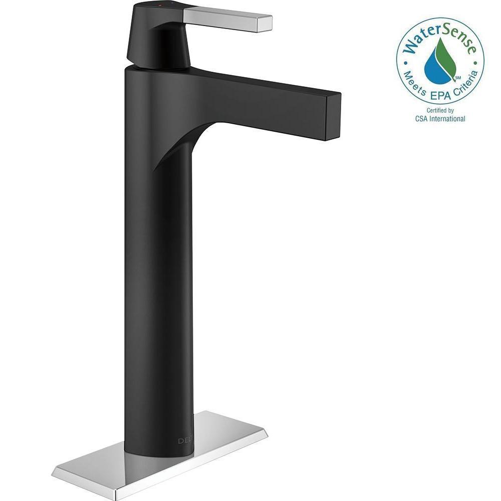 zura single hole vessel bathroom faucet in chromematte black