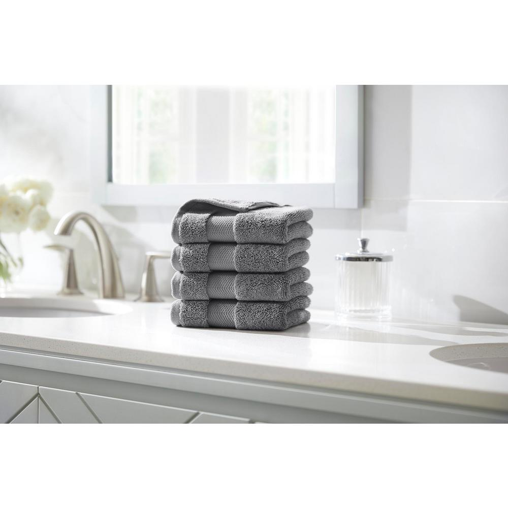HomeDecoratorsCollection Home Decorators Collection Plush Soft Cotton Wash Cloth in Stone Gray (Set of 4)