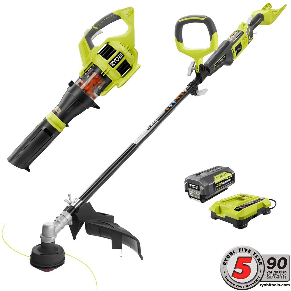 40-Volt Cordless Lithium-Ion String Trimmer and Jet Fan Blower Combo Kit