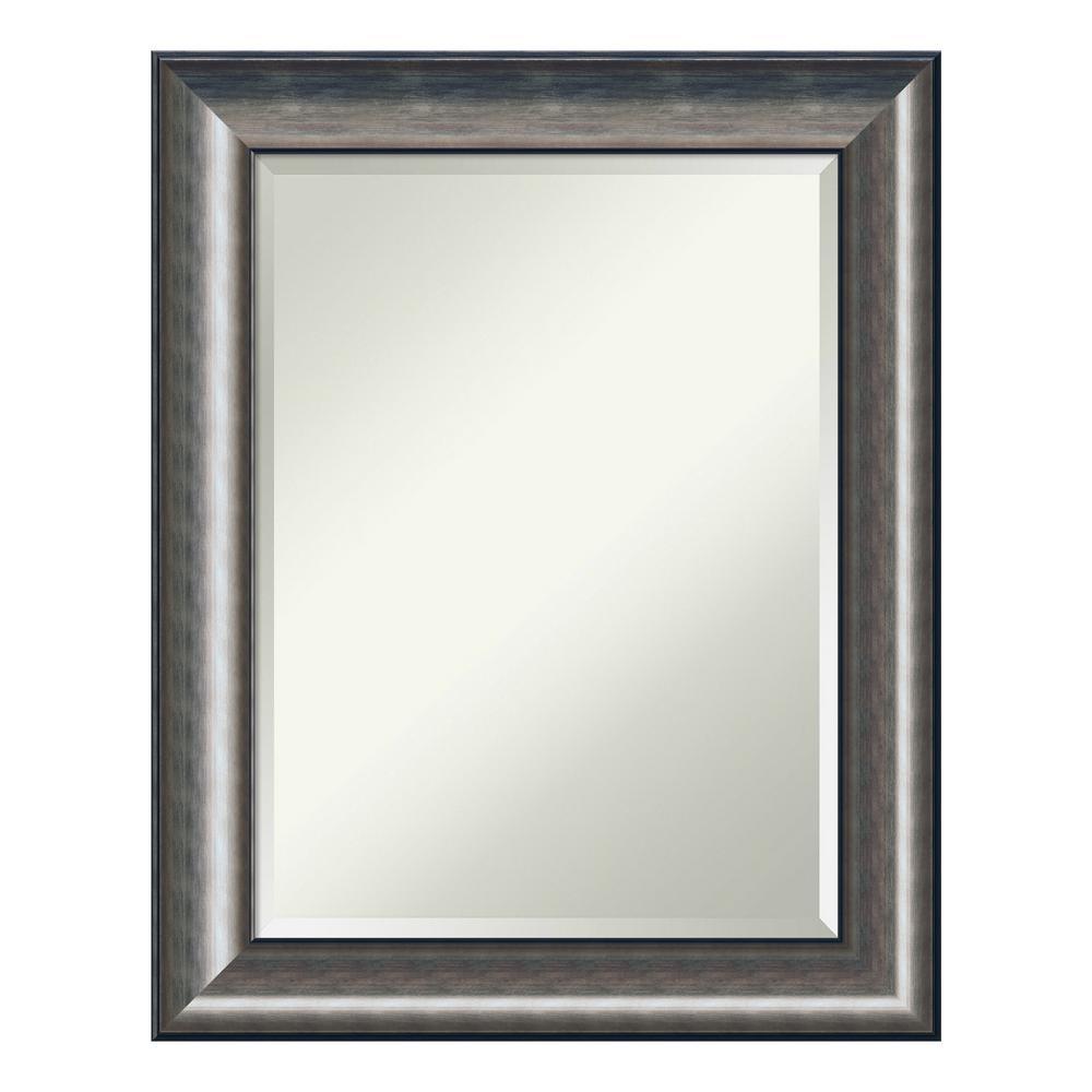 Quicksilver Scoop Wood 24 in. x 30 in. Contemporary Bathroom Vanity Mirror