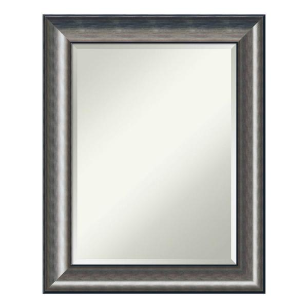 Quicksilver 24 in. W x 30 in. H Framed Rectangular Beveled Edge Bathroom Vanity Mirror in Metallic Silver