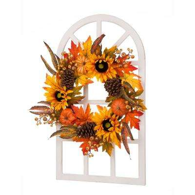 24 in. L x 36 in. W x 6.89 in. H Wooden Window Frame with Sunflower Wreath