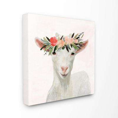 "30 in. x 30 in. ""Springtime Flower Crown Baby Goat""by Artist Victoria Borges Canvas Wall Art"