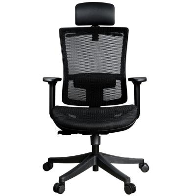 Black Mesh Ergonomic Office Chair with Adjustable Headrest and Height