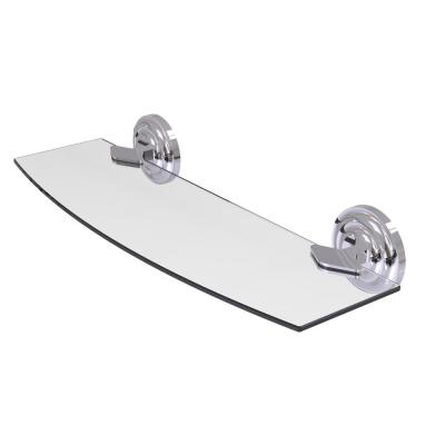 Que New 18 in. L  x 3 in. H  x 5 in. W Clear Glass Bathroom Shelf in Polished Chrome