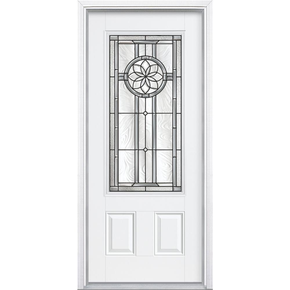 Masonite Carlsbad Three Quarter Rectangle Primed Smooth Fiberglass Prehung Front Door with Brickmold-DISCONTINUED