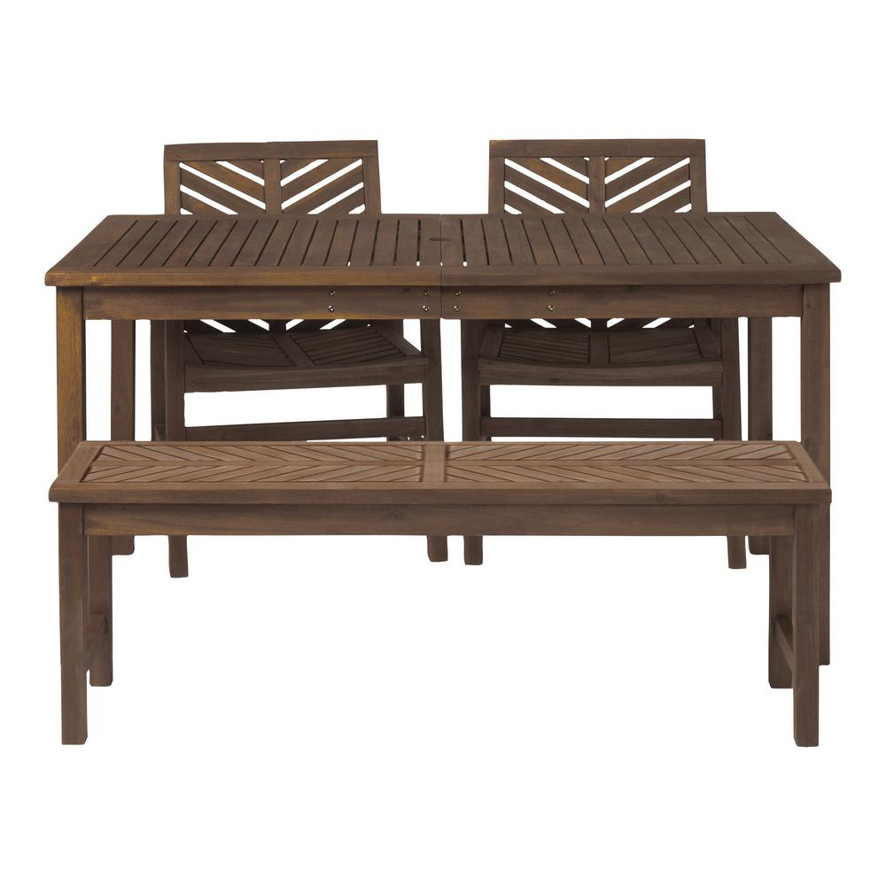 Superb Walker Edison Furniture Company Chevron Dark Brown 4 Piece Wood Outdoor Patio Dining Set Onthecornerstone Fun Painted Chair Ideas Images Onthecornerstoneorg