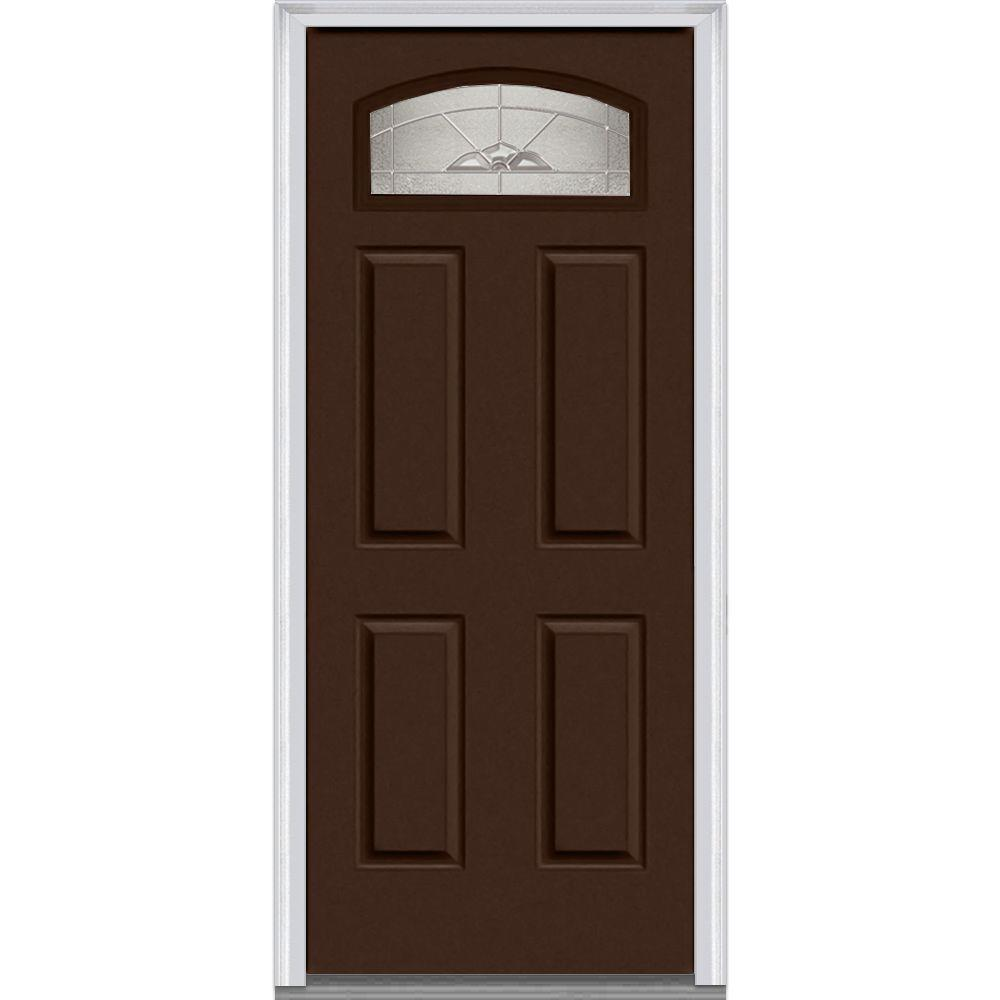 Mmi Door 30 In X 80 In Master Nouveau Right Hand 1 4 Lite 4 Panel Classic Painted Fiberglass