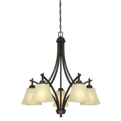 Midori 5-Light Oil Rubbed Bronze Chandelier with Amber Linen Glass Shades