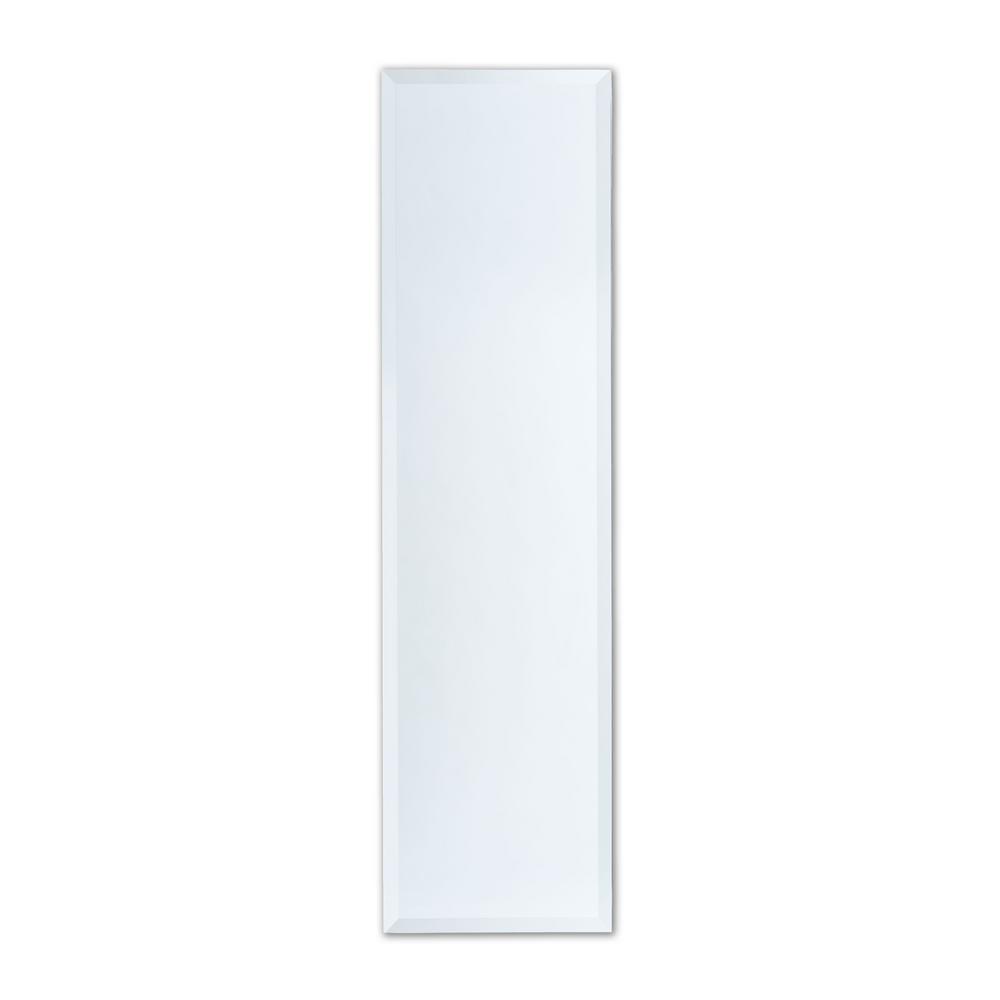 12 in. W x 48 in. H Frameless Full-Length Rectangular Beveled Edge Bathroom Vanity Mirror
