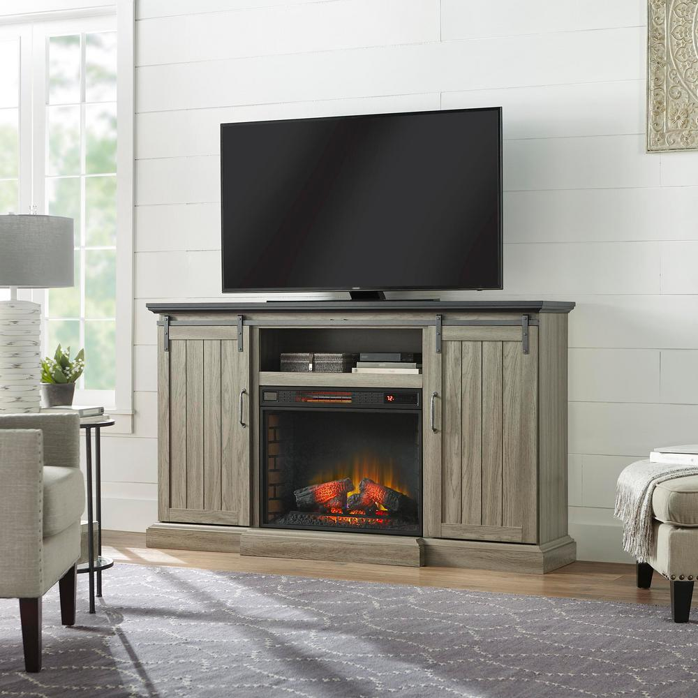 Home Decorators Collection Chastain 68 In Freestanding Media Console Electric Fireplace Tv Stand With Sliding Barn Door Ash