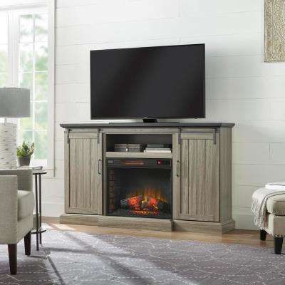 Chastain 68 in. Freestanding Media Console Electric Fireplace TV Stand with Sliding Barn Door Fireplace in Ash