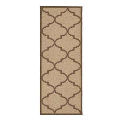 Jardin Collection Beige Morrocan Trellis Design Indoor/Outdoor 3 ft. x 7 ft. Jute Back Runner Rug