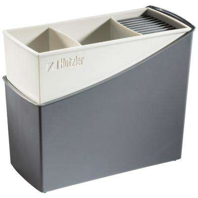 Cutlery Drainer / Flatware Caddy with Knife Slots in Gray