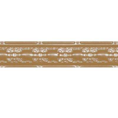 4 in. x 4 ft. Satin Brass Nail-up/Direct Application Tin Ceiling Cornice (6-Pack)
