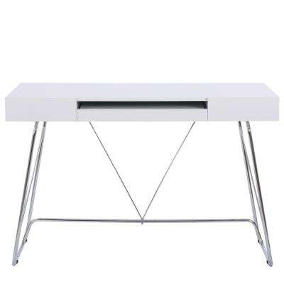 Heinrik Matte White Fiberboard Computer Desk with Drawers
