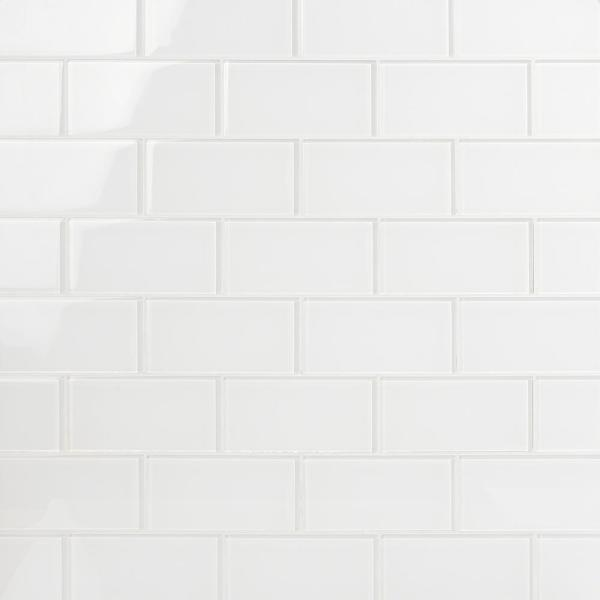 Contempo Bright White 3 in. x 6 in. x 8 mm Polished Glass Subway Floor and Wall Tile (32 pieces 4 sq.ft./Box)