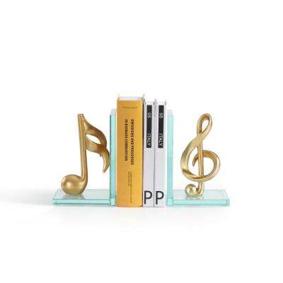 Musical Notes Gold Glass and Resin Bookends (Set of 2)