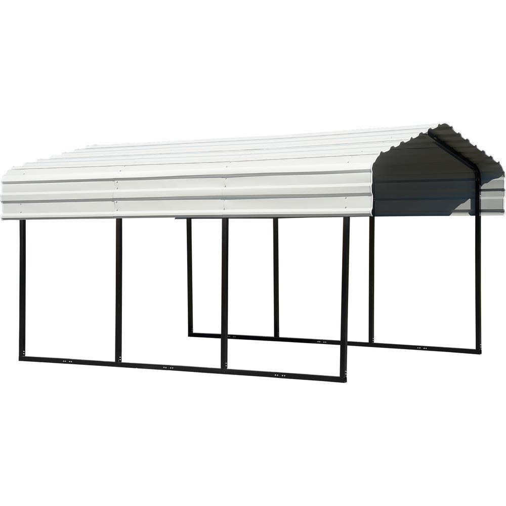 Arrow 10 ft. W x 15 ft. D Eggshell Galvanized Steel Carport, Car Canopy and Shelter