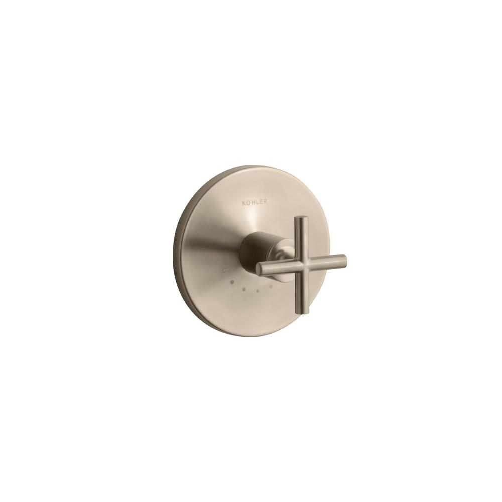 KOHLER Purist 1-Handle Thermostatic Valve Trim Kit with Cross Handle in Vibrant Brushed Bronze (Valve Not Included)