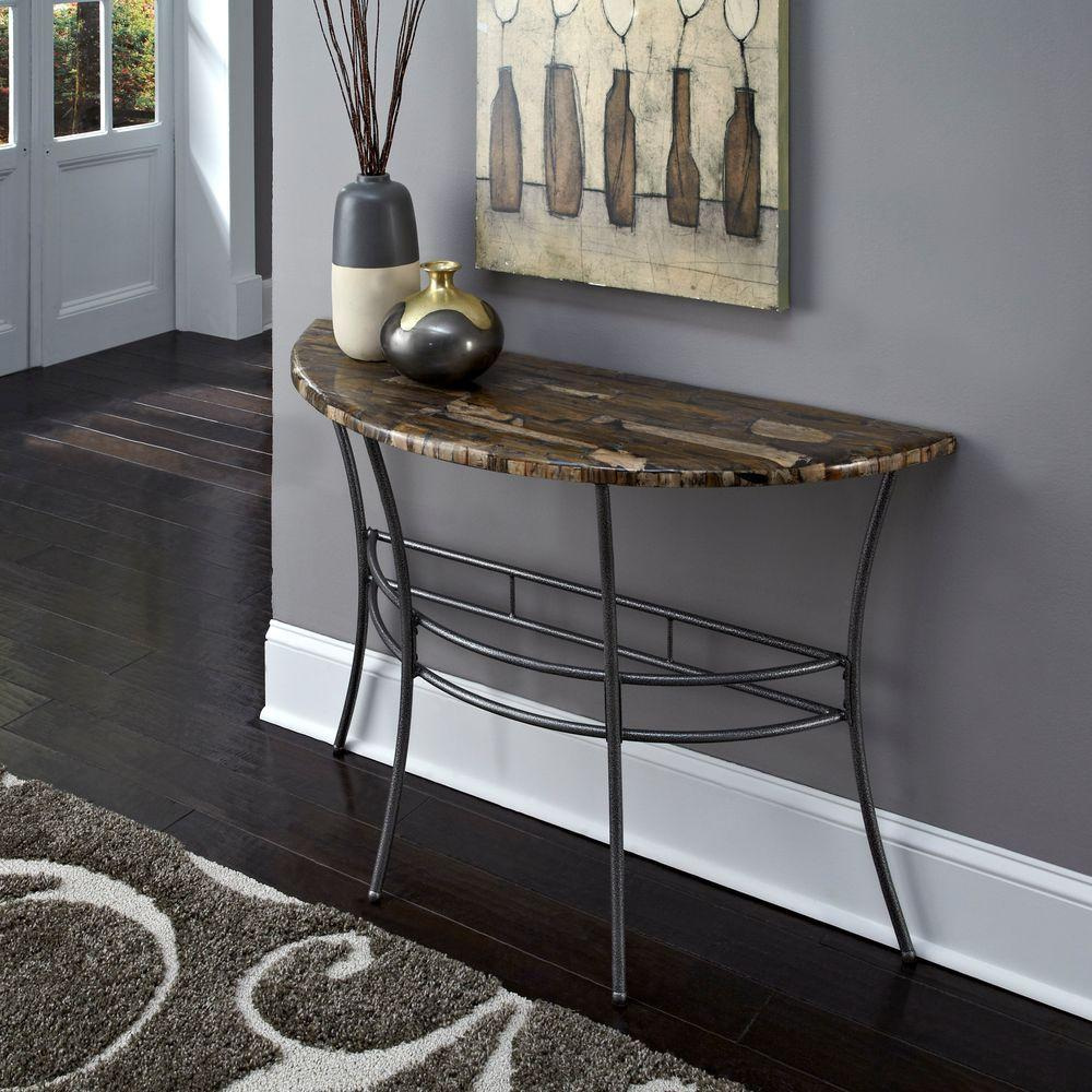 Home Styles Turn to Stone Petrified Wood and Gray Metal Console Table