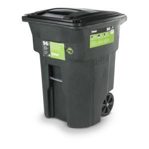 Greenstone Trash Can With Wheels And Attached Lid