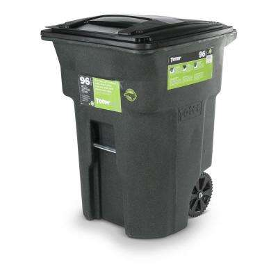 96 Gal. Green Trash Can with Wheels and Attached Lid
