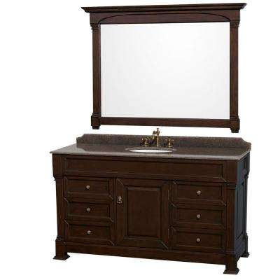 Andover 60 in. W x 23 in. D Vanity in Dark Cherry with Granite Vanity Top in Imperial Brown with White Basin and Mirror