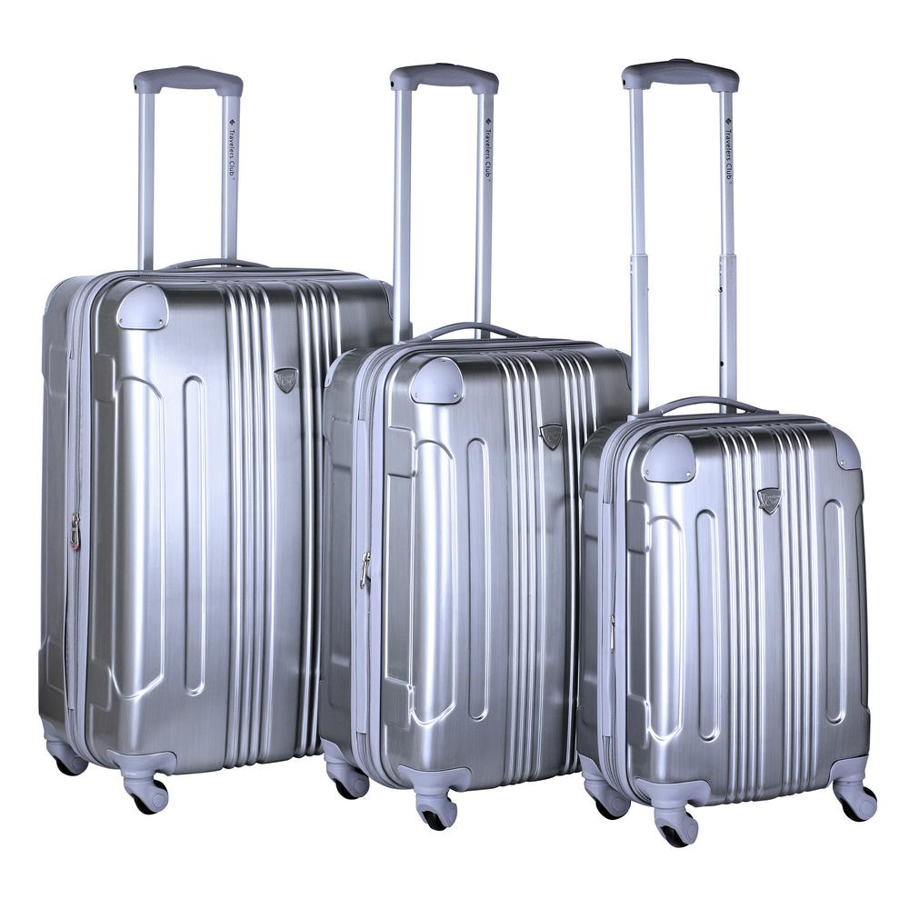 3-Piece Silver Expandable Hard Side Metallic Vertical Luggage Set