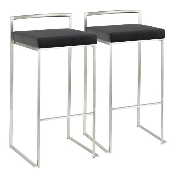 Lumisource Fuji 30 in. Stainless Steel Stackable Bar Stool with Black Velvet Cushion (Set of 2)