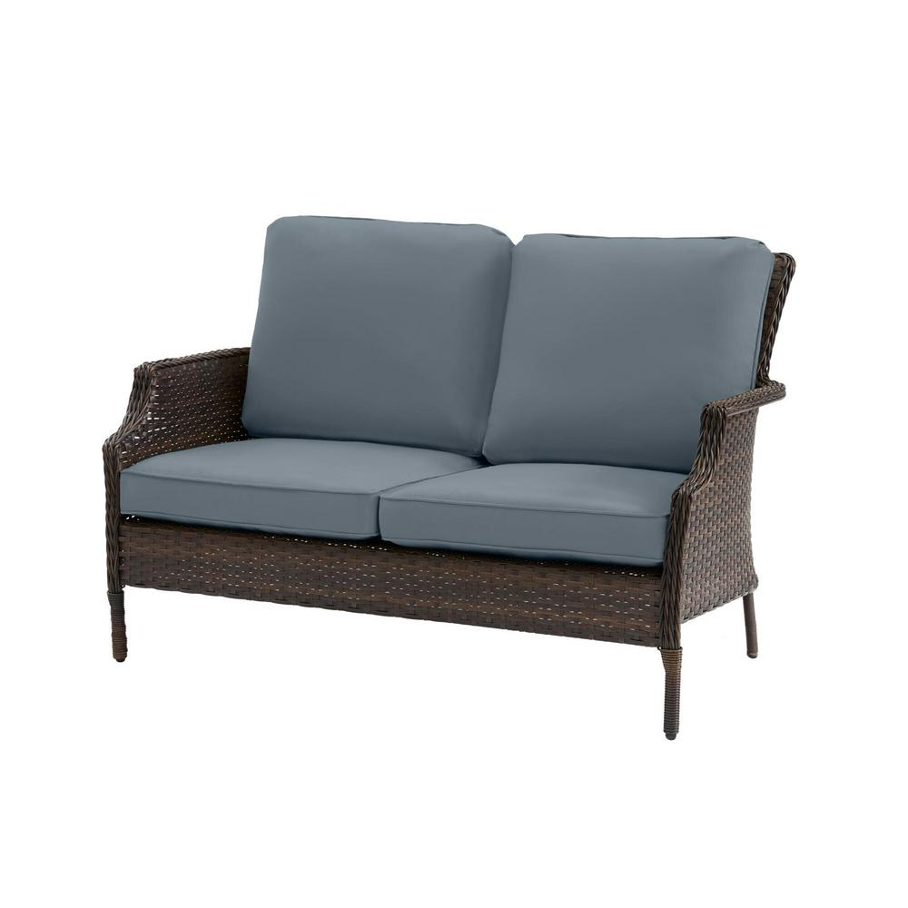 Hampton Bay Grayson Brown Wicker Outdoor Patio Loveseat with Sunbrella Denim Blue Cushions was $329.0 now $263.2 (20.0% off)