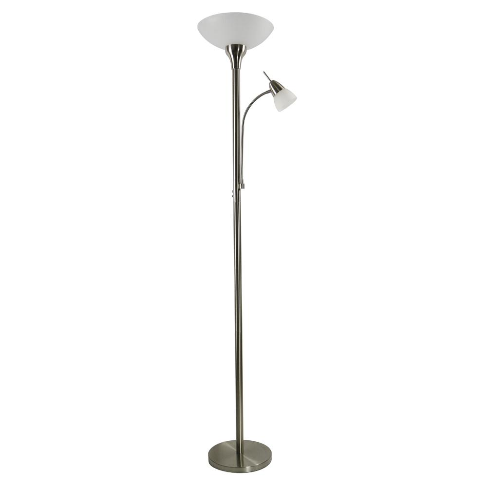 72 in. Satin Nickel LED Floor Lamp with Adjustable Reading Light