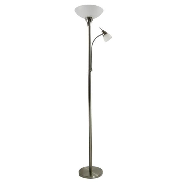 72 In Satin Nickel Led Floor Lamp With Adjustable Reading Light