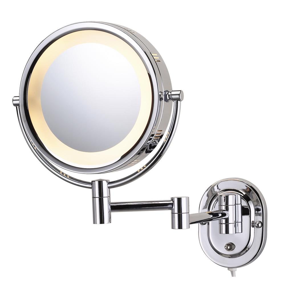 Wall Mounted Magnifying Makeup Mirror.8 In X 8 In Round Lighted Wall Mounted 5x Magnification Makeup Mirror In Chrome
