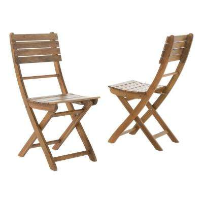 Hudson Natural Finish Foldable Wood Outdoor Dining Chair (2-Pack)