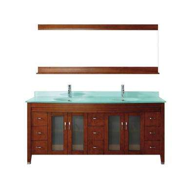 Alba 75 in. Vanity in Classic Cherry with Glass Vanity Top in Classic Cherry and Mirror
