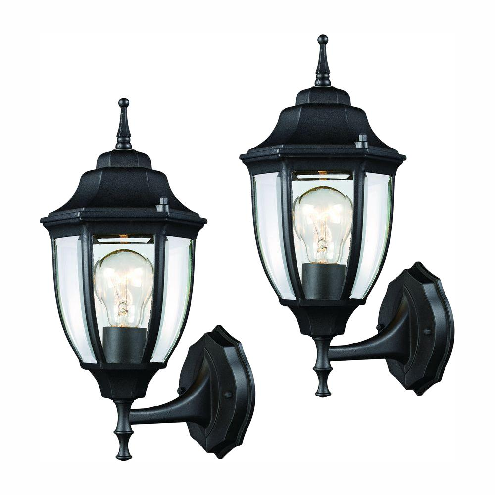 Hampton Bay Black Outdoor Wall Lantern Sconce 2 Pack Hd 4470t Bk The Home Depot