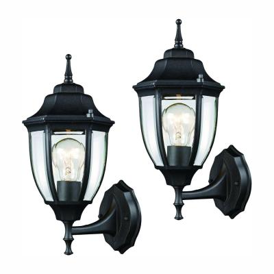 Black Outdoor Wall Lantern Sconce (2-Pack)