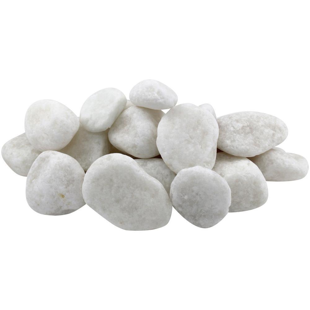 1 in. to 2 in., 20 lb. Medium Snow White Pebbles