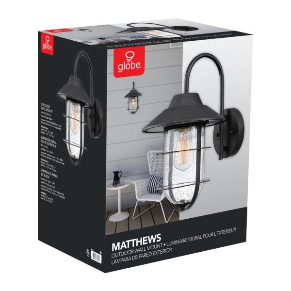 Seeded Glass Shade 44333 Globe Electric Matthews Outdoor Indoor Wall Sconce Matte Black
