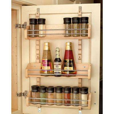 25 in. H x 16.125 in. W x 4 in. D Large Cabinet Door Mount Wood Adjustable 3-Shelf Spice Rack