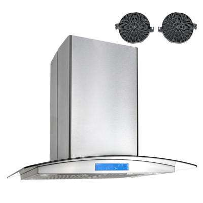 30 in. Ductless Island Mount Range Hood in Stainless Steel with LED Lighting and Carbon Filter Kit for Recirculating