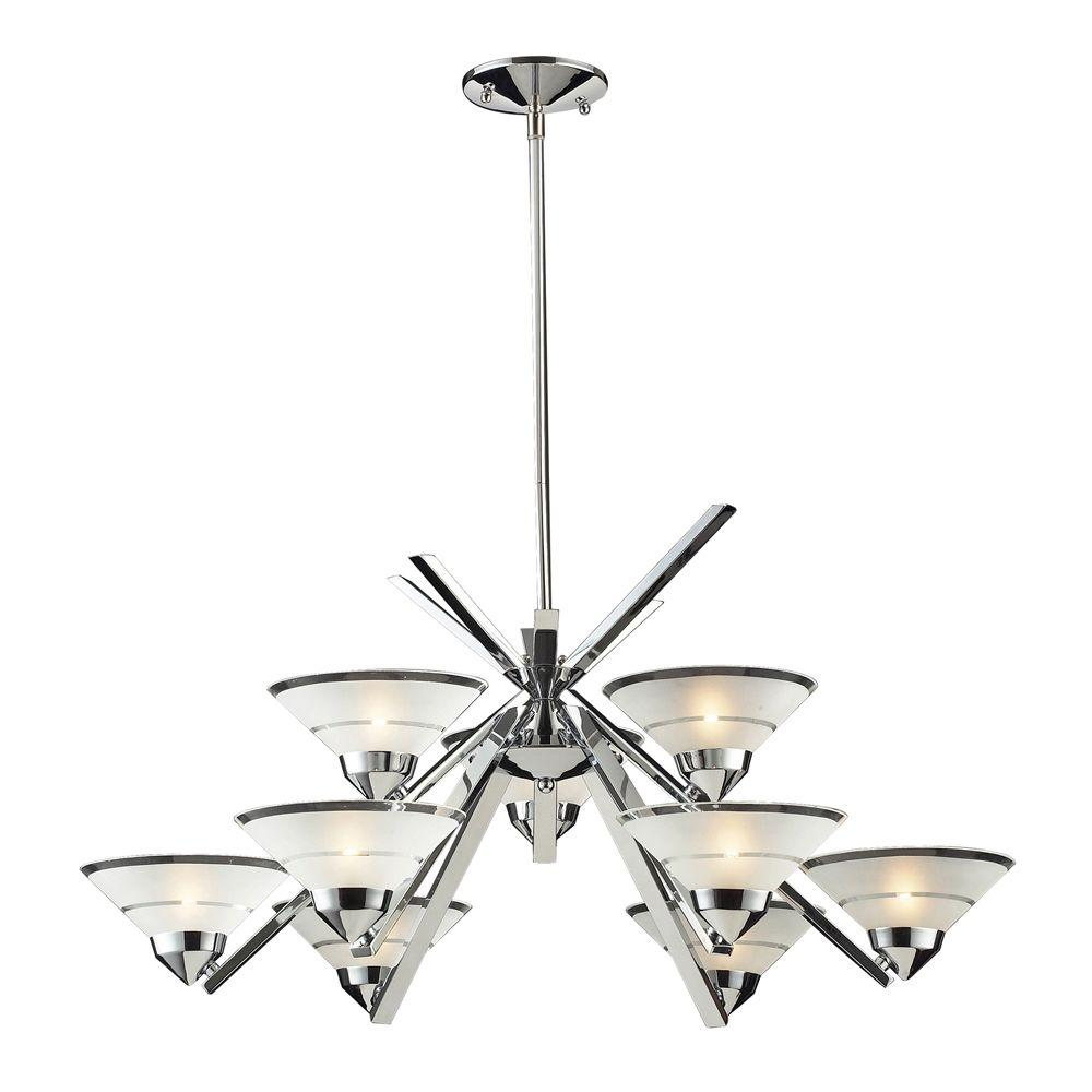 Titan Lighting Refraction 9-Light Polished Chrome Chandelier With Etched Clear Glass Shades