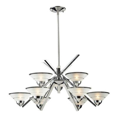 Refraction 9-Light Polished Chrome Chandelier With Etched Clear Glass Shades