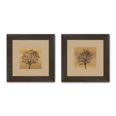 """19.5 in. x 19.5 in. """"Silhouette"""" Matted Framed Wall Art (Set of 2)"""