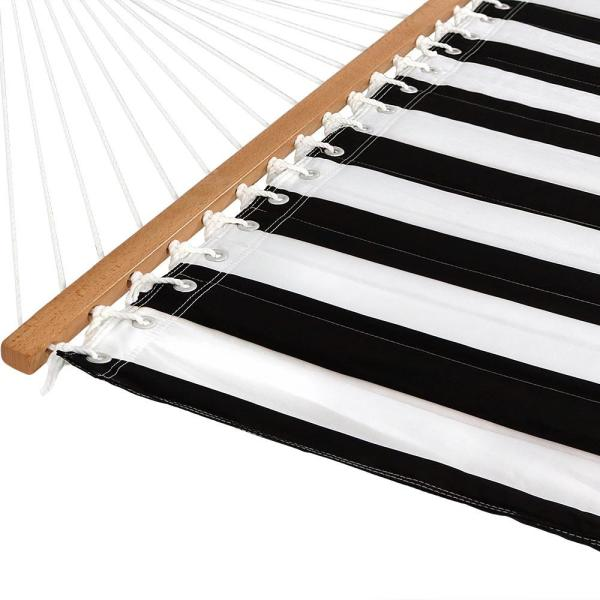 Black and White Stripe Sunnydaze Quilted Spreader Bar Hammock and Pillow