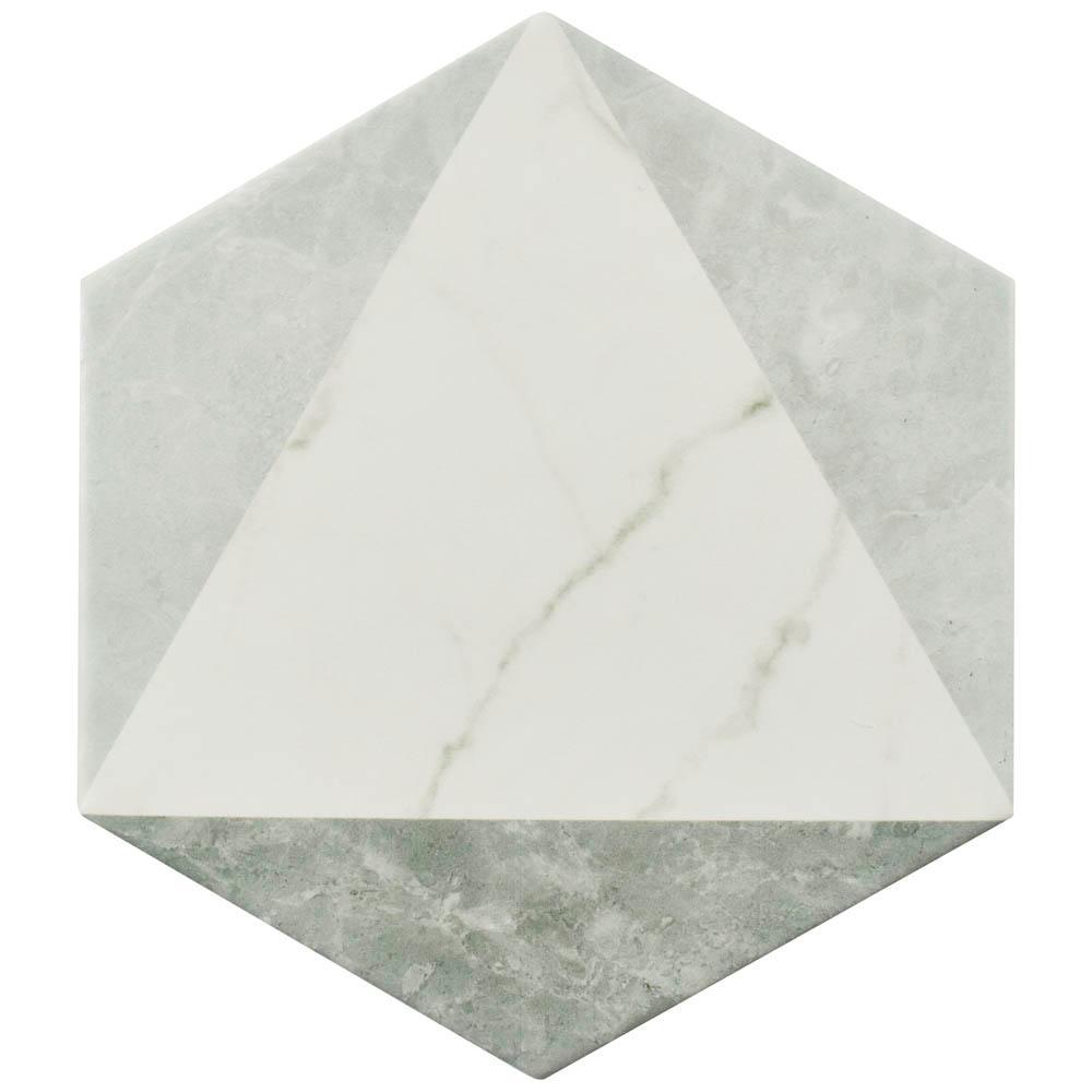 Classico Carrara Hexagon Peak 7 in. x 8 in. Porcelain Floor and Wall Tile (11 sq. ft. / case)