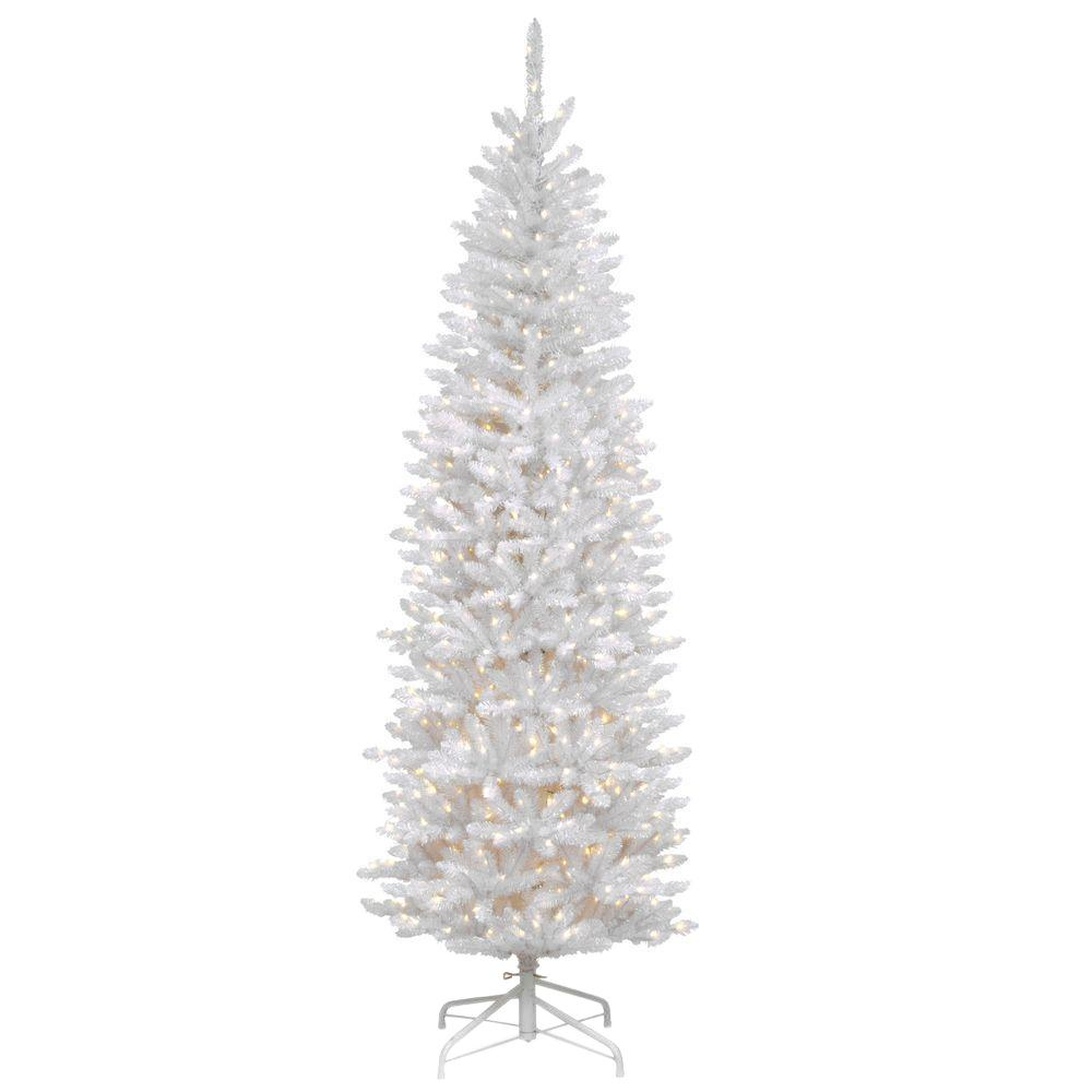 national tree company 7 ft kingswood white fir hinged pencil artificial christmas tree with 300 - Pencil Christmas Tree